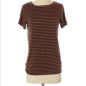 Express Black and Tan Striped Crew Neck